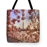 Cherry Blossoms And The Washington Monument Tote Bag by Lois Bryan