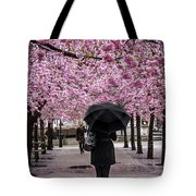Cherry Blossoms In The Rain Tote Bag