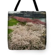 Cherry Blossoms Trees Along Portland Waterfront Tote Bag