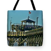 Cherry Grove Pier - Closeup End Of Pier Tote Bag