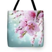 Cherry Tree Twig On Blue Tote Bag