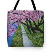 Cherry Trees- Pink Blossoms- Landscape Painting Tote Bag