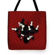 Chessboard And 3d Chess Pieces Composition On Red Tote Bag