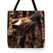 Chestnut-backed Chickadee On Tree Trunk Tote Bag