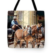 Chestnut Horses Pulling Carriage Tote Bag