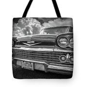 Chevrolet Biscayne 1958 In Black And White Tote Bag