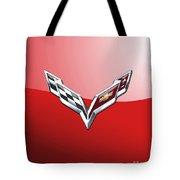 Chevrolet Corvette - 3d Badge On Red Tote Bag