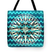 Chevron Print Compass Blue Tote Bag