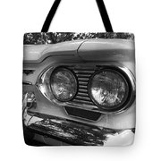 Chevy Corvair Headights And Bumper Black And White Tote Bag