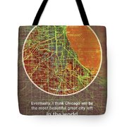 Chicago 1957 Old Map, Chicago Frank Lloyd Wright Quote Tote Bag