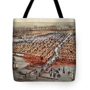 Chicago As It Was Tote Bag by Currier and Ives