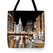 Chicago At Night At Wabash Avenue Bridge Tote Bag