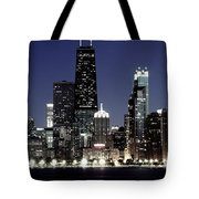 Chicago At Night High Resolution Tote Bag