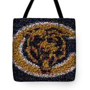 Chicago Bears Bottle Cap Mosaic Tote Bag by Paul Van Scott