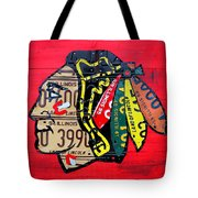 Chicago Blackhawks Hockey Team Vintage Logo Made From Old Recycled Illinois License Plates Red Tote Bag