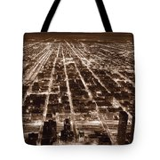 Chicago City Lights West B W Tote Bag
