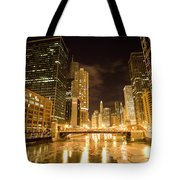 Chicago Downtown City  Night Photography Tote Bag