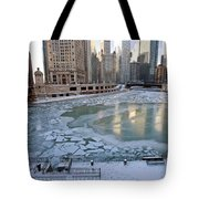 Chicago Downtown City  Night Photography Wrigley Square Tote Bag