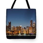 Chicago Downtown Skyline At Night Tote Bag