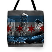 Chicago Flag Bean Tote Bag