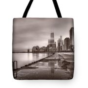 Chicago Foggy Lakefront Bw Tote Bag