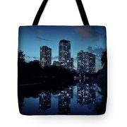 Chicago High-rise Buildings By The Lincoln Park Pond At Night Tote Bag
