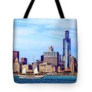 Chicago Il - Schooner Against Chicago Skyline Tote Bag