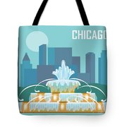 Chicago Illinois Horizontal Skyline - Buckingham Fountain Tote Bag