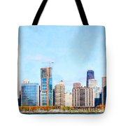 Chicago Illinois Skyline Painterly Triptych Plate Three Of Three 20180516 Tote Bag