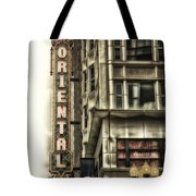 Chicago In November Oriental Theater Signage Vertical Tote Bag