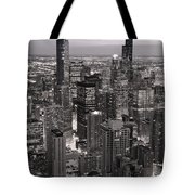 Chicago Loop Sundown B And W Tote Bag