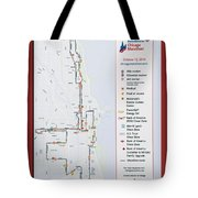Chicago Marathon Race Day Route Map 2014 Tote Bag