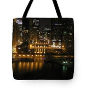 Chicago Night River Scene Tote Bag