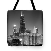 Chicago Night Skyline In Black And White Tote Bag by Paul Velgos