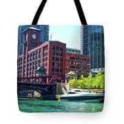 Chicago Parked By The Clark Street Bridge On The River Tote Bag