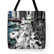 Chicago Parked On The River Walk 03 Sc Tote Bag