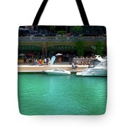 Chicago Parked On The River Walk Panorama 01 Tote Bag