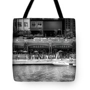 Chicago Parked On The River Walk Panorama 02 Bw Tote Bag