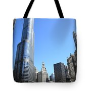 Chicago River And Skyline Tote Bag