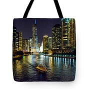 Chicago River At Night Tote Bag