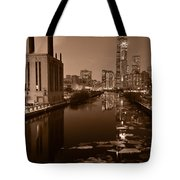 Chicago River B And W Tote Bag