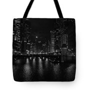 Chicago River Night Skyline Tote Bag