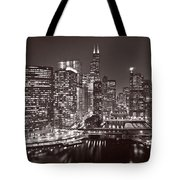 Chicago River Panorama B W Tote Bag