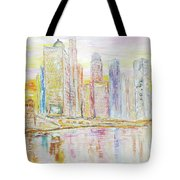 Chicago River Skyline Tote Bag