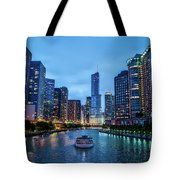 Chicago River Sunset Tote Bag