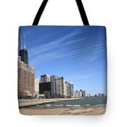 Chicago Skyline And Beach Tote Bag