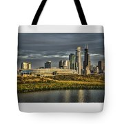 Chicago Skyline And Nature Preserve At Sunrise Tote Bag