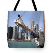 Chicago Skyline And Tall Ship Tote Bag