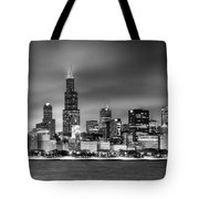 Chicago Skyline At Night Black And White Tote Bag