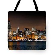 Chicago Skyline At Night Extra Wide Panorama Tote Bag